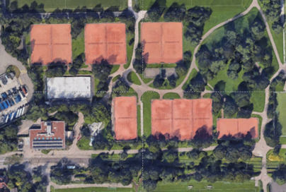 Aerial view of the Tennis courts at Hardhof, operated by the Zürich Municipal Sports Office