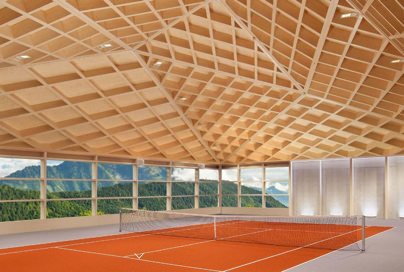 View of one of the indoor courts at the Bürgenstock Resort near Lucerne