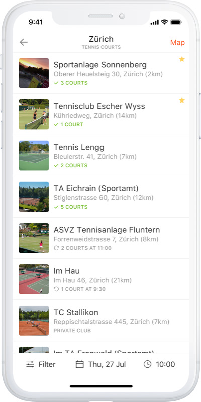 iPhone X with GotCourts App showing courts available for reservation at various Tennis facilities nearby.