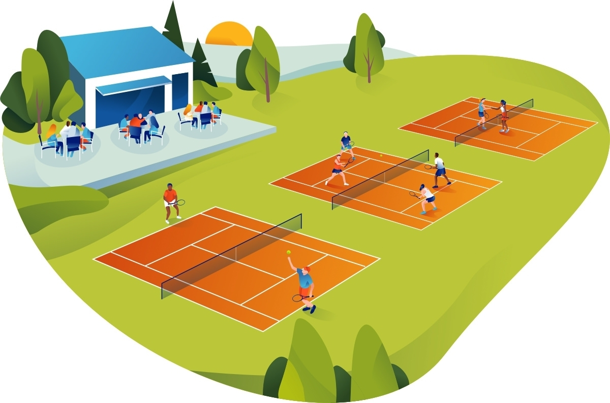 Busy tennis court facility with single matches and double matches in progress and a lively clubhouse with socialising players