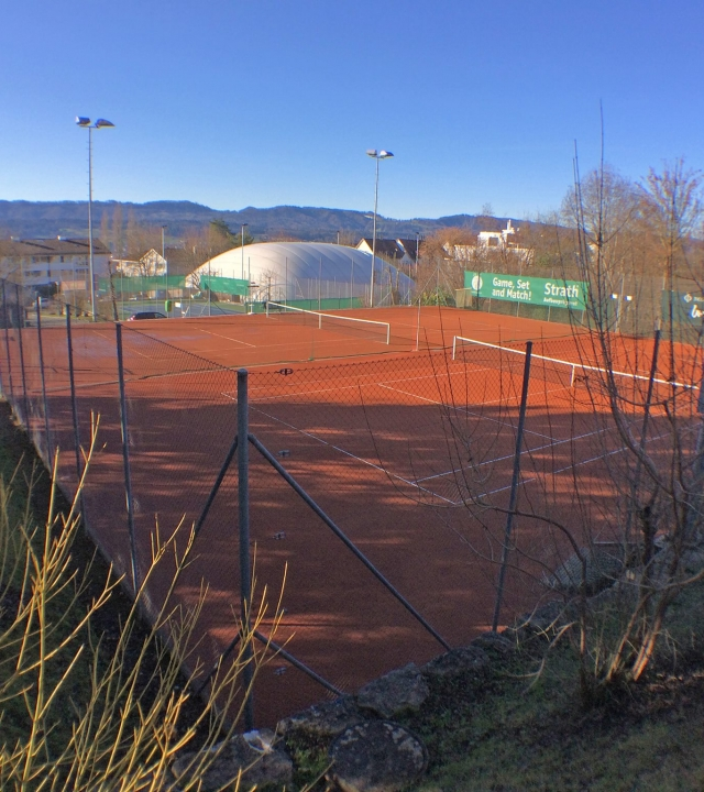 View over two of the clay courts at the Tennis Club Herrliberg