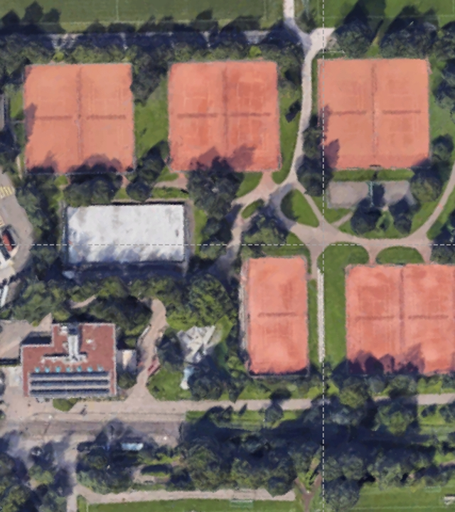 Aerial view of the courts at the Hardhof Tennis center in Zürich